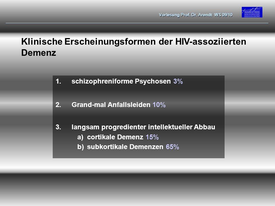 Vorlesung Prof. Dr. Arendt WS 09/10 Klinische Erscheinungsformen der HIV-assoziierten Demenz 1.schizophreniforme Psychosen 3% 2.Grand-mal Anfallsleide