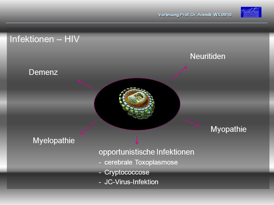 Vorlesung Prof. Dr. Arendt WS 09/10 Demenz Neuritiden Myelopathie Myopathie Infektionen – HIV opportunistische Infektionen -cerebrale Toxoplasmose -Cr