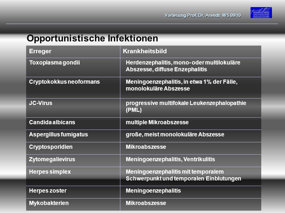 Vorlesung Prof. Dr. Arendt WS 09/10 Opportunistische Infektionen ErregerKrankheitsbild Toxoplasma gondiiHerdenzephalitis, mono- oder multilokuläre Abs