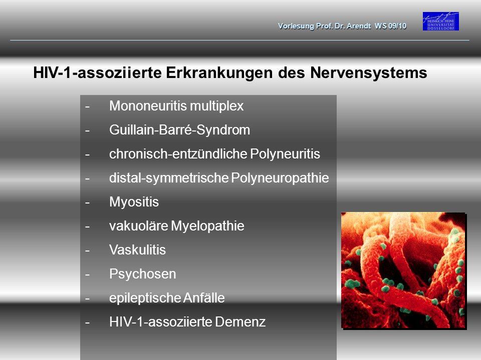 Vorlesung Prof. Dr. Arendt WS 09/10 HIV-1-assoziierte Erkrankungen des Nervensystems -Mononeuritis multiplex -Guillain-Barré-Syndrom -chronisch-entzün