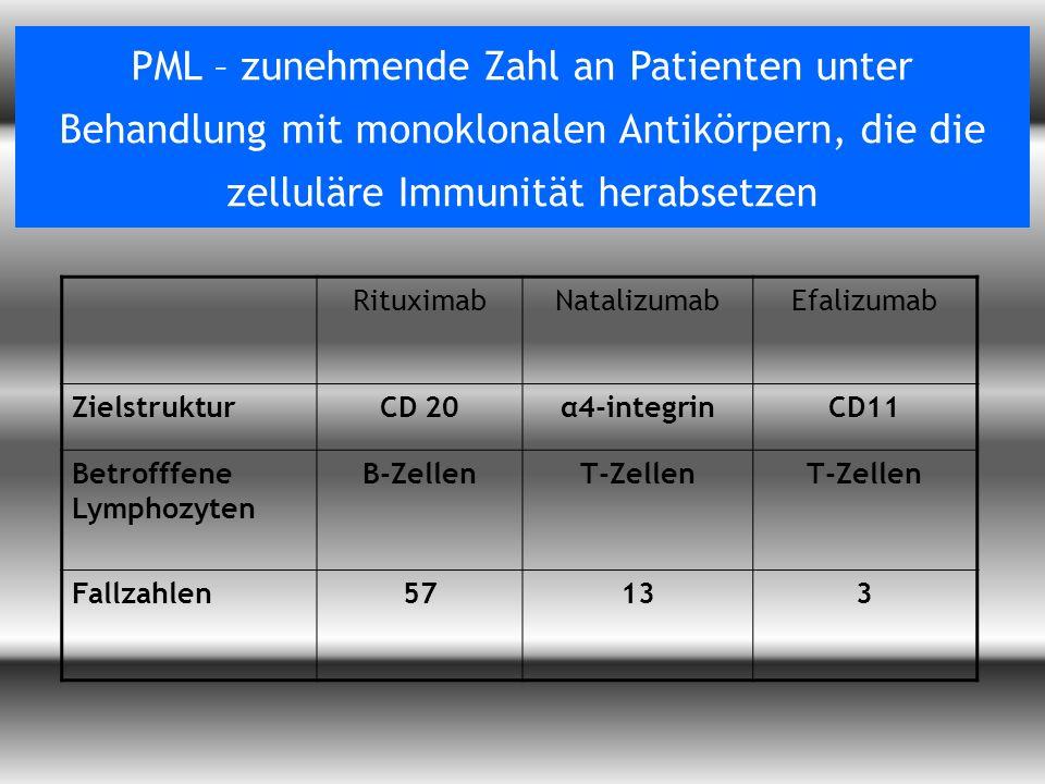 Vorlesung Prof. Dr. Arendt WS 09/10 PML – zunehmende Zahl an Patienten unter Behandlung mit monoklonalen Antikörpern, die die zelluläre Immunität hera