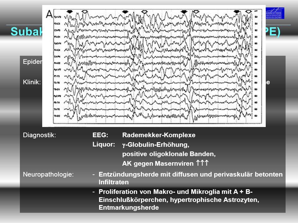 Vorlesung Prof. Dr. Arendt WS 09/10 Subakute sklerosierende Panenzephalitis (SSPE) Epidemiologie:-1:1.000.000 E -m : w = 3 : 1 Klinik:Stadium Iprogred