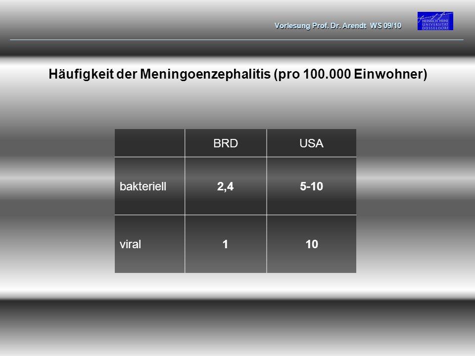 Vorlesung Prof. Dr. Arendt WS 09/10 Häufigkeit der Meningoenzephalitis (pro 100.000 Einwohner) BRDUSA bakteriell2,45-10 viral110