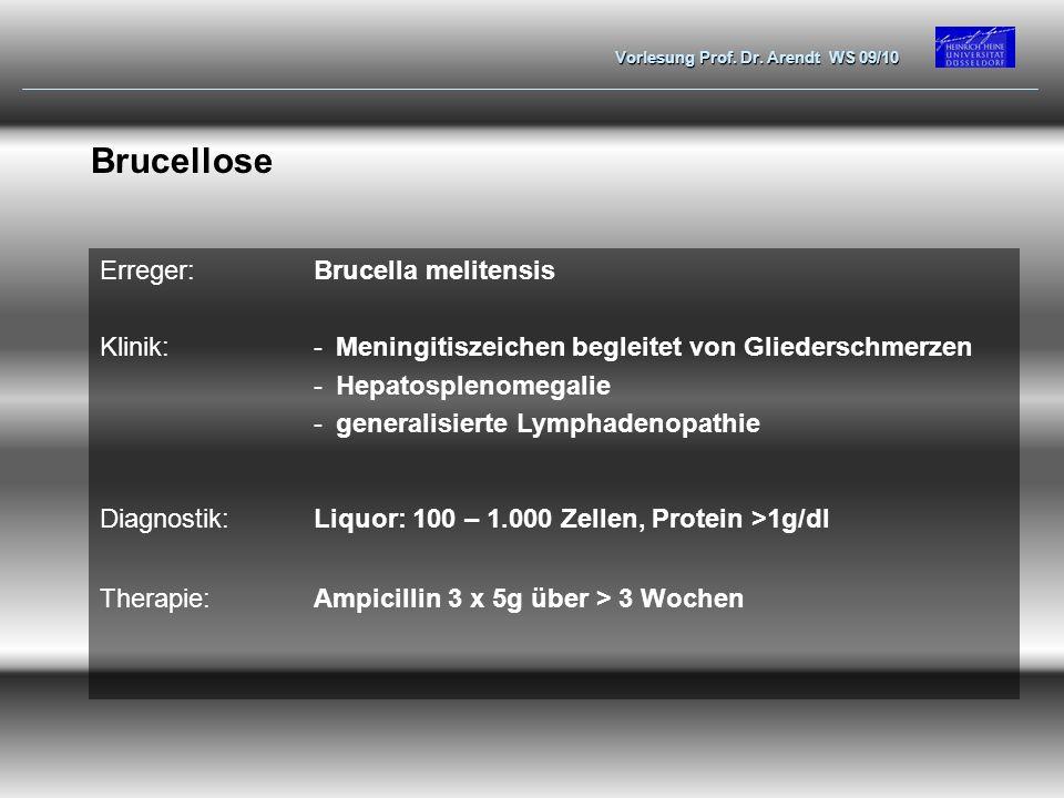 Vorlesung Prof. Dr. Arendt WS 09/10 Brucellose Erreger:Brucella melitensis Klinik:-Meningitiszeichen begleitet von Gliederschmerzen -Hepatosplenomegal