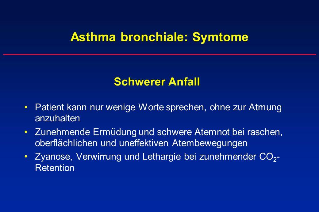 Asthma bronchiale: Symtome Schwerer Anfall Patient kann nur wenige Worte sprechen, ohne zur Atmung anzuhalten Zunehmende Ermüdung und schwere Atemnot