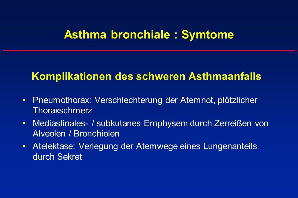 Asthma bronchiale : Symtome Komplikationen des schweren Asthmaanfalls Pneumothorax: Verschlechterung der Atemnot, plötzlicher Thoraxschmerz Mediastina