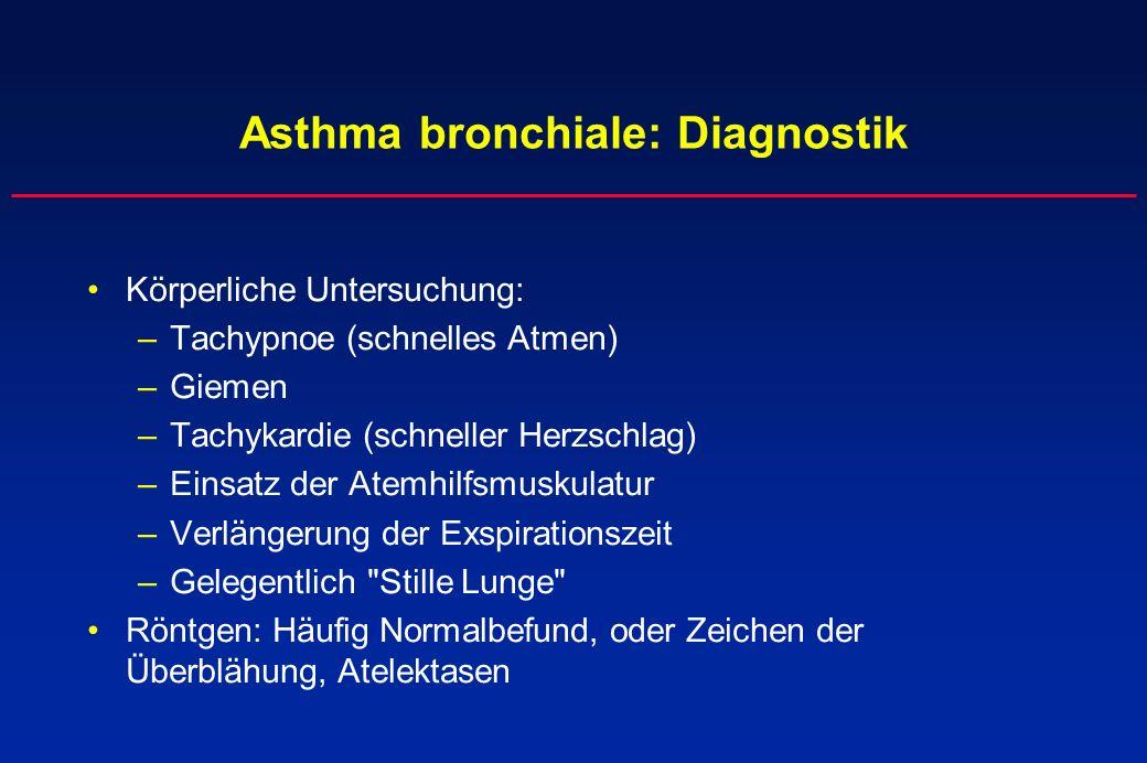 Asthma bronchiale: Diagnostik Körperliche Untersuchung: –Tachypnoe (schnelles Atmen) –Giemen –Tachykardie (schneller Herzschlag) –Einsatz der Atemhilf