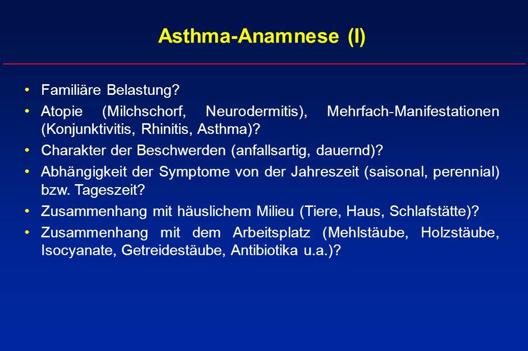 Familiäre Belastung? Atopie (Milchschorf, Neurodermitis), Mehrfach-Manifestationen (Konjunktivitis, Rhinitis, Asthma)? Charakter der Beschwerden (anfa