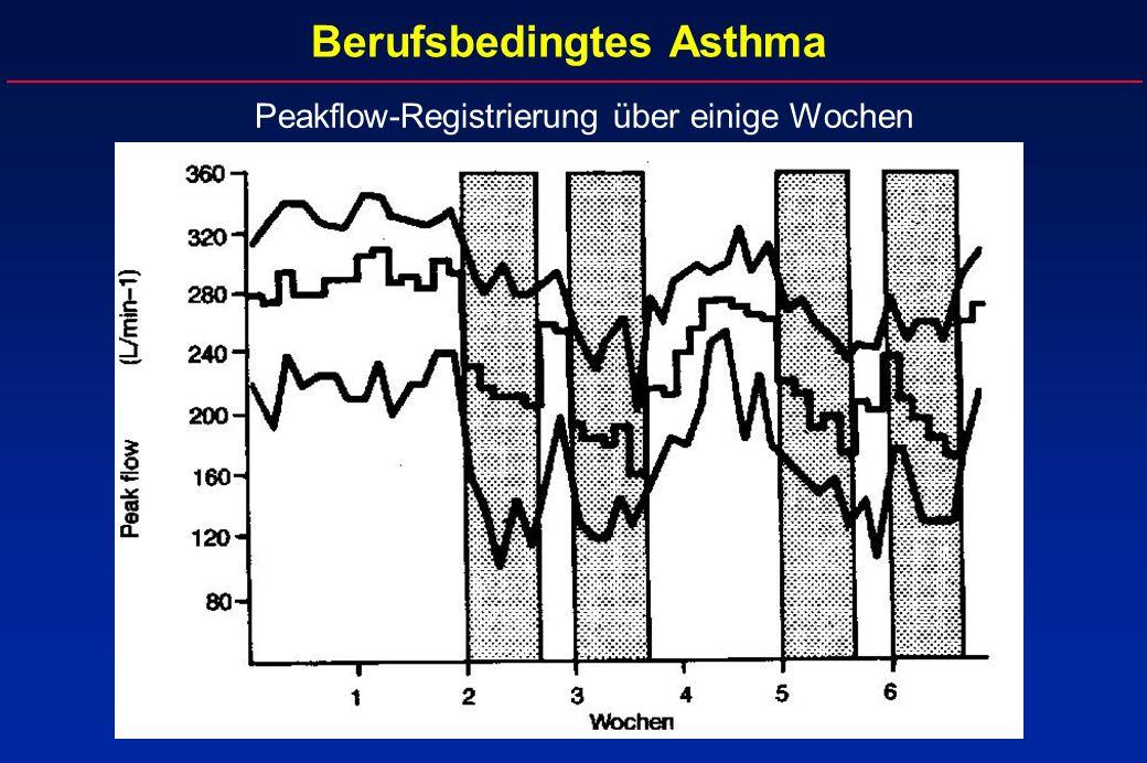 Berufsbedingtes Asthma Peakflow-Registrierung über einige Wochen