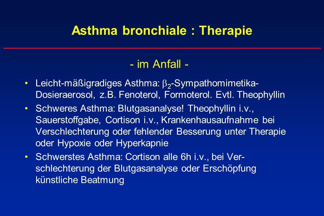 Asthma bronchiale : Therapie - im Anfall - Leicht-mäßigradiges Asthma: 2 -Sympathomimetika- Dosieraerosol, z.B. Fenoterol, Formoterol. Evtl. Theophyll