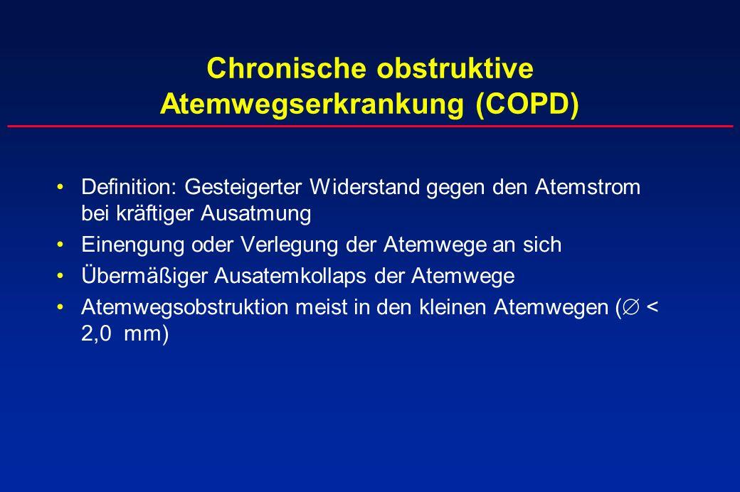 Chronische obstruktive Atemwegserkrankung (COPD) Definition: Gesteigerter Widerstand gegen den Atemstrom bei kräftiger Ausatmung Einengung oder Verleg