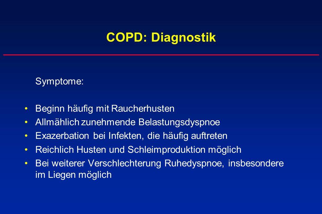 COPD: Diagnostik Symptome: Beginn häufig mit Raucherhusten Allmählich zunehmende Belastungsdyspnoe Exazerbation bei Infekten, die häufig auftreten Rei