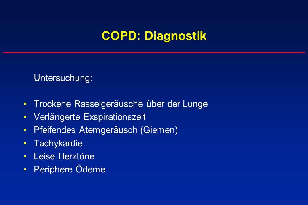 COPD: Diagnostik Untersuchung: Trockene Rasselgeräusche über der Lunge Verlängerte Exspirationszeit Pfeifendes Atemgeräusch (Giemen) Tachykardie Leise
