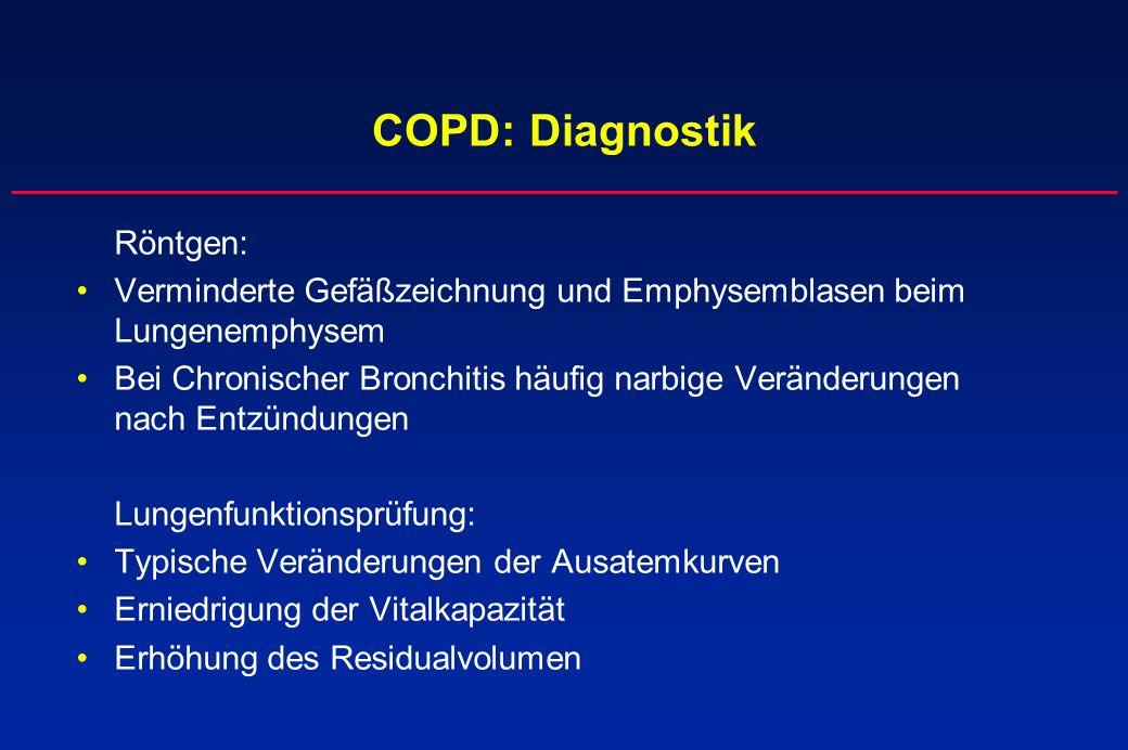 COPD: Diagnostik Röntgen: Verminderte Gefäßzeichnung und Emphysemblasen beim Lungenemphysem Bei Chronischer Bronchitis häufig narbige Veränderungen na