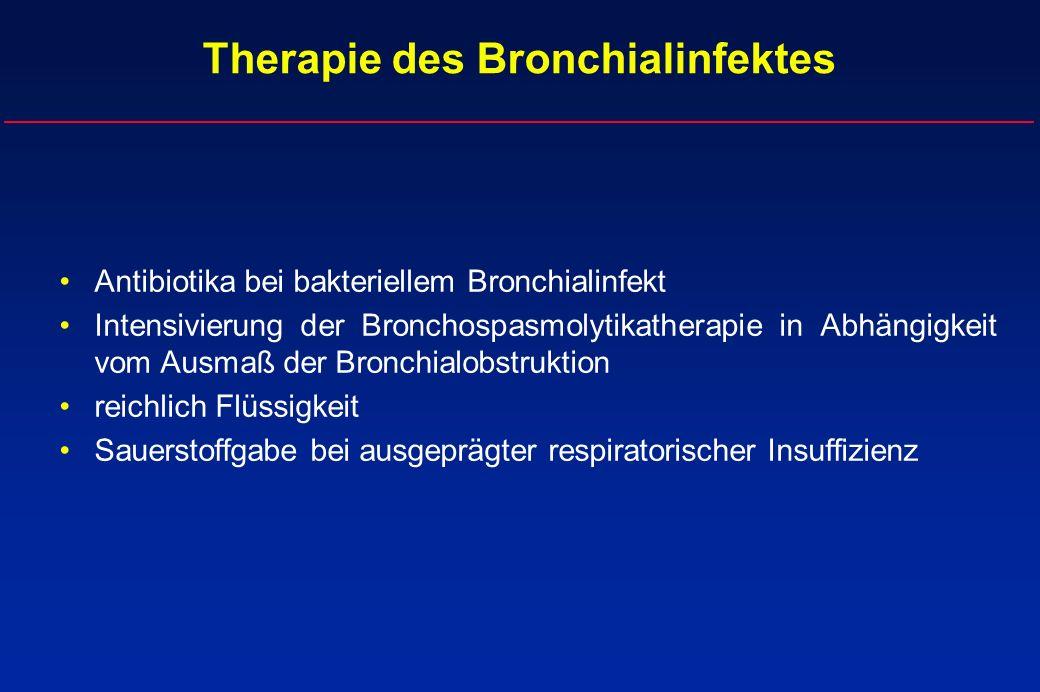 Therapie des Bronchialinfektes Antibiotika bei bakteriellem Bronchialinfekt Intensivierung der Bronchospasmolytikatherapie in Abhängigkeit vom Ausmaß