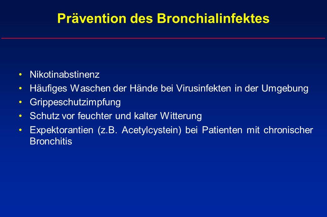 Prävention des Bronchialinfektes Nikotinabstinenz Häufiges Waschen der Hände bei Virusinfekten in der Umgebung Grippeschutzimpfung Schutz vor feuchter