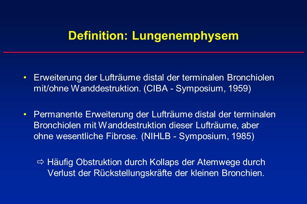 Definition: Lungenemphysem Erweiterung der Lufträume distal der terminalen Bronchiolen mit/ohne Wanddestruktion. (CIBA - Symposium, 1959) Permanente E