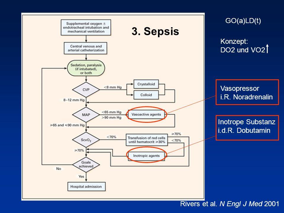 Vasopressor i.R. Noradrenalin Inotrope Substanz i.d.R. Dobutamin GO(a)LD(t) Rivers et al. N Engl J Med 2001 Konzept: DO2 und VO2 3. Sepsis