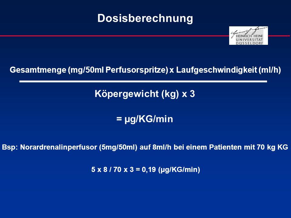 Dosisberechnung Gesamtmenge (mg/50ml Perfusorspritze) x Laufgeschwindigkeit (ml/h) Köpergewicht (kg) x 3 = µg/KG/min Bsp: Norardrenalinperfusor (5mg/5