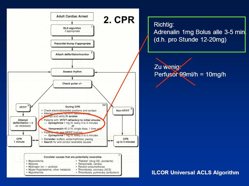 Richtig: Adrenalin 1mg Bolus alle 3-5 min. (d.h. pro Stunde 12-20mg) Zu wenig: Perfusor 99ml/h = 10mg/h ILCOR Universal ACLS Algorithm 2. CPR