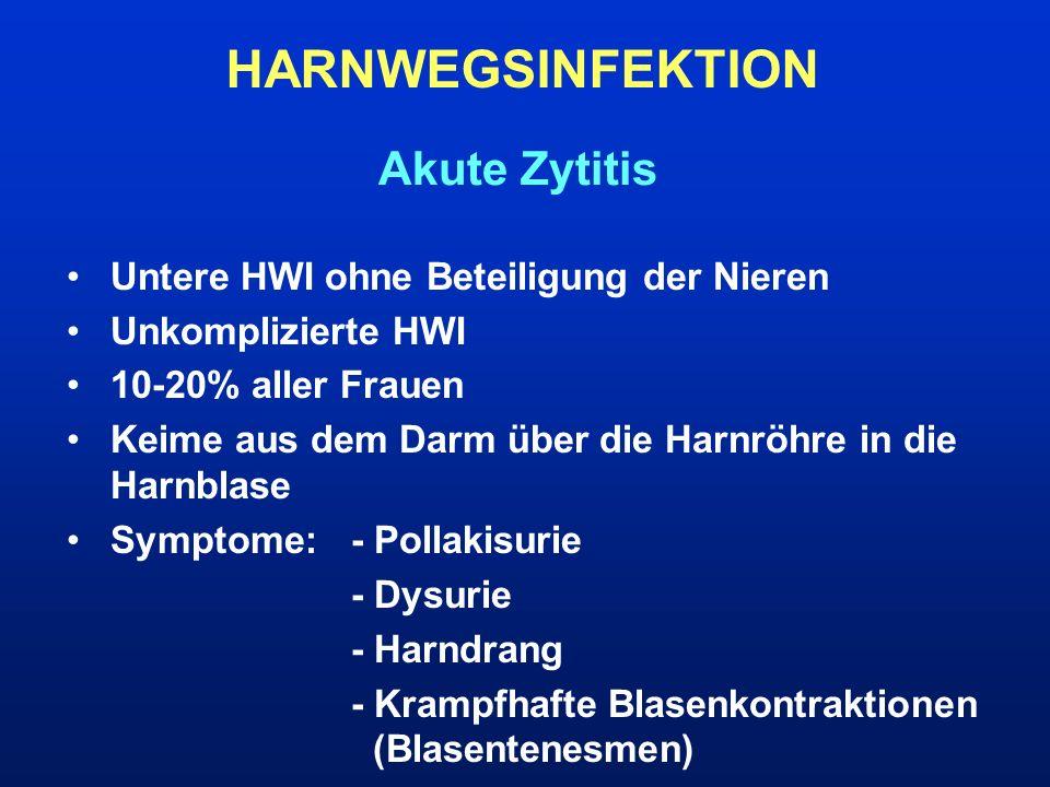 Untere HWI ohne Beteiligung der Nieren Unkomplizierte HWI 10-20% aller Frauen Keime aus dem Darm über die Harnröhre in die Harnblase Symptome:- Pollak