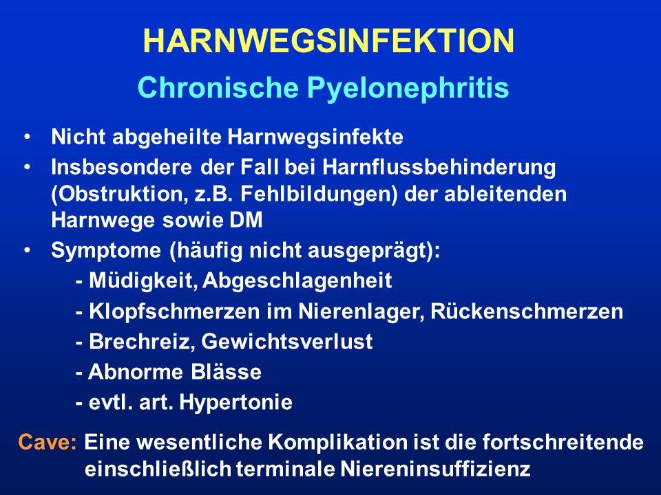 Chronische Pyelonephritis Nicht abgeheilte Harnwegsinfekte Insbesondere der Fall bei Harnflussbehinderung (Obstruktion, z.B. Fehlbildungen) der ableit