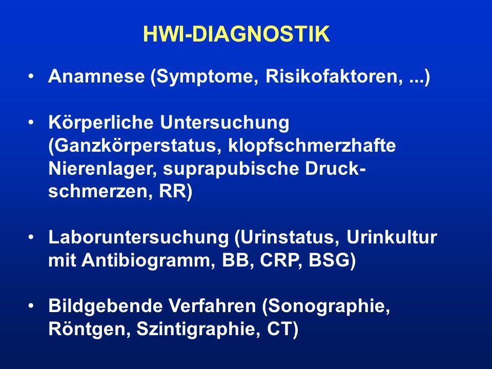 HWI-DIAGNOSTIK Anamnese (Symptome, Risikofaktoren,...) Körperliche Untersuchung (Ganzkörperstatus, klopfschmerzhafte Nierenlager, suprapubische Druck-