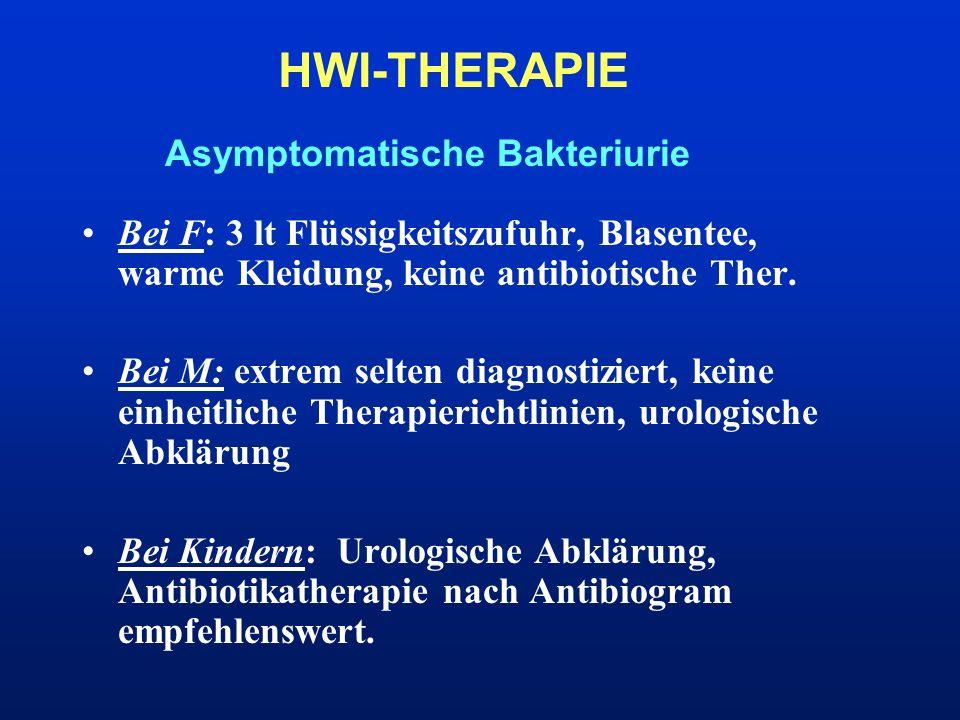 Asymptomatische Bakteriurie HWI-THERAPIE Bei F: 3 lt Flüssigkeitszufuhr, Blasentee, warme Kleidung, keine antibiotische Ther. Bei M: extrem selten dia