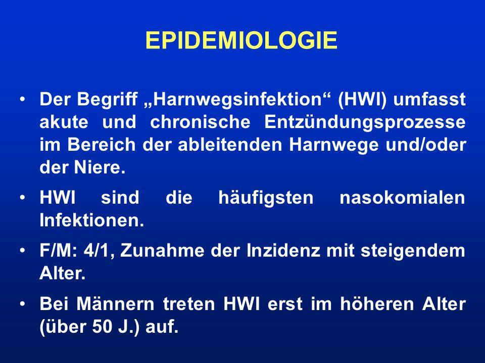 HWI-DIAGNOSTIK Anamnese (Symptome, Risikofaktoren,...) Körperliche Untersuchung (Ganzkörperstatus, klopfschmerzhafte Nierenlager, suprapubische Druck- schmerzen, RR) Laboruntersuchung (Urinstatus, Urinkultur mit Antibiogramm, BB, CRP, BSG) Bildgebende Verfahren (Sonographie, Röntgen, Szintigraphie, CT)