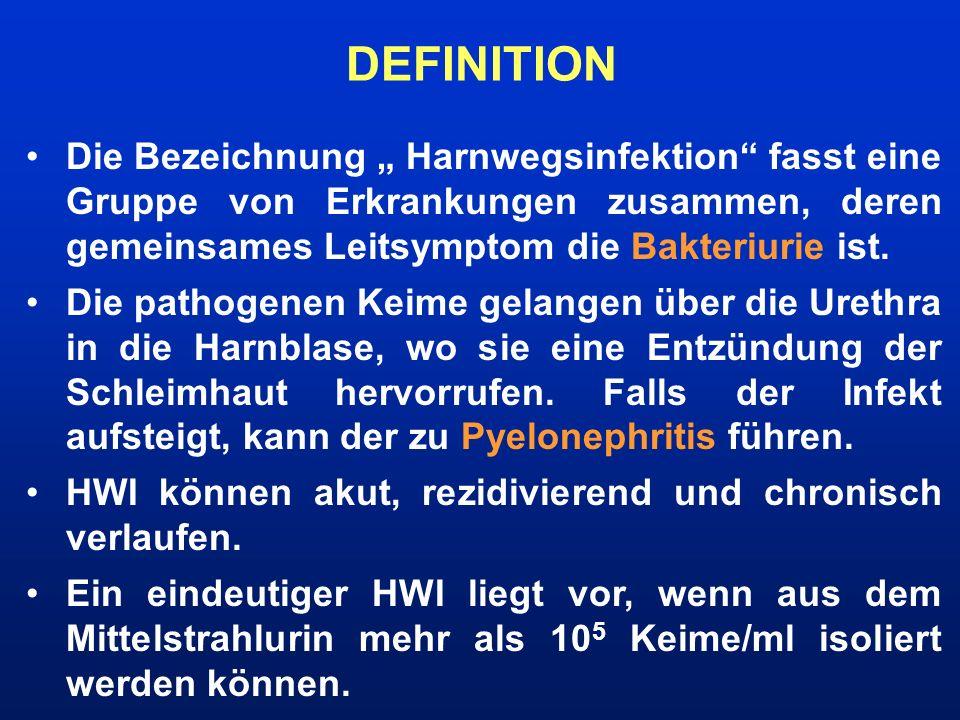 Die Bezeichnung Harnwegsinfektion fasst eine Gruppe von Erkrankungen zusammen, deren gemeinsames Leitsymptom die Bakteriurie ist. Die pathogenen Keime