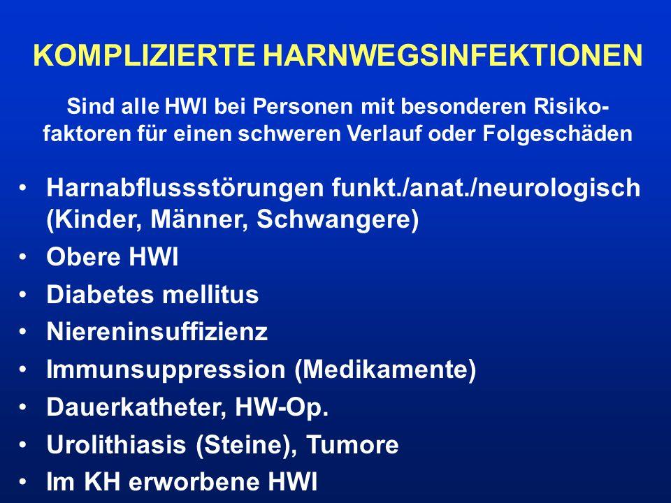 KOMPLIZIERTE HARNWEGSINFEKTIONEN Sind alle HWI bei Personen mit besonderen Risiko- faktoren für einen schweren Verlauf oder Folgeschäden Harnabflussst