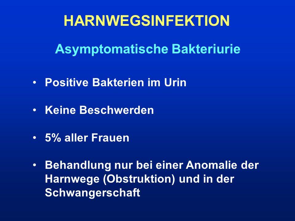 HWI-THERAPIE Akute Pyelonephritis Stationäre Aufnahme Allgemeine Maßnahme: Ausreichende Flüssigkeitszufuhr, Bettruhe, Analgetika/Antipyretika Bei akutem unkomliziertem Verlauf: Cotrimoxazol p.o.(Bactrim) oder Gyrasehemmer p.o (Ofloxacin) Bei komplizierteren Verläufen, besonders bei hospitalisierten Paitenten oder nach urologischen Eingriffen : Gyrasehemmer i.v.