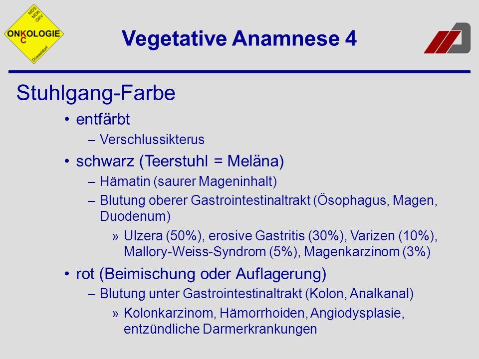 Vegetative Anamnese 4 Stuhlgang-Farbe entfärbt –Verschlussikterus schwarz (Teerstuhl = Meläna) –Hämatin (saurer Mageninhalt) –Blutung oberer Gastrointestinaltrakt (Ösophagus, Magen, Duodenum) »Ulzera (50%), erosive Gastritis (30%), Varizen (10%), Mallory-Weiss-Syndrom (5%), Magenkarzinom (3%) rot (Beimischung oder Auflagerung) –Blutung unter Gastrointestinaltrakt (Kolon, Analkanal) »Kolonkarzinom, Hämorrhoiden, Angiodysplasie, entzündliche Darmerkrankungen