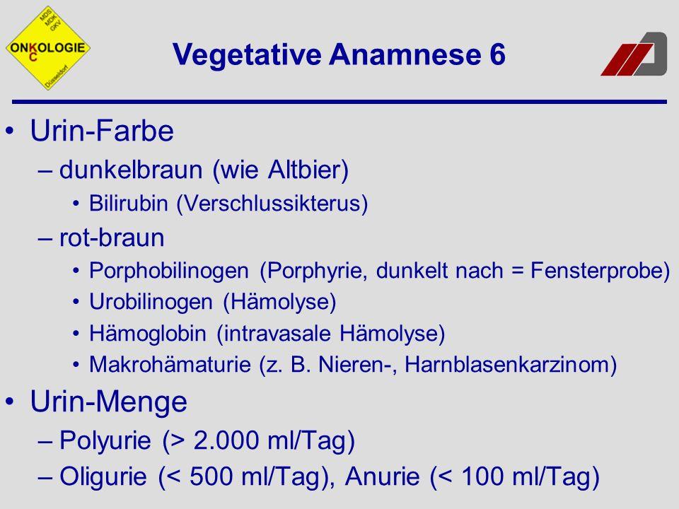 Urin-Farbe –dunkelbraun (wie Altbier) Bilirubin (Verschlussikterus) –rot-braun Porphobilinogen (Porphyrie, dunkelt nach = Fensterprobe) Urobilinogen (
