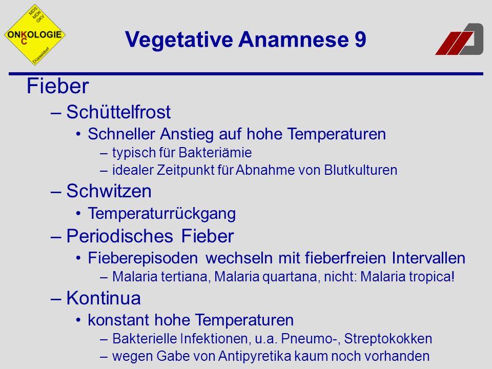Fieber –Schüttelfrost Schneller Anstieg auf hohe Temperaturen –typisch für Bakteriämie –idealer Zeitpunkt für Abnahme von Blutkulturen –Schwitzen Temp
