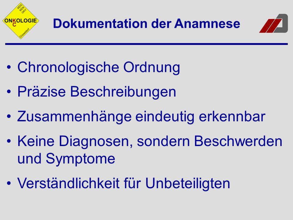 Dokumentation der Anamnese Chronologische Ordnung Präzise Beschreibungen Zusammenhänge eindeutig erkennbar Keine Diagnosen, sondern Beschwerden und Sy