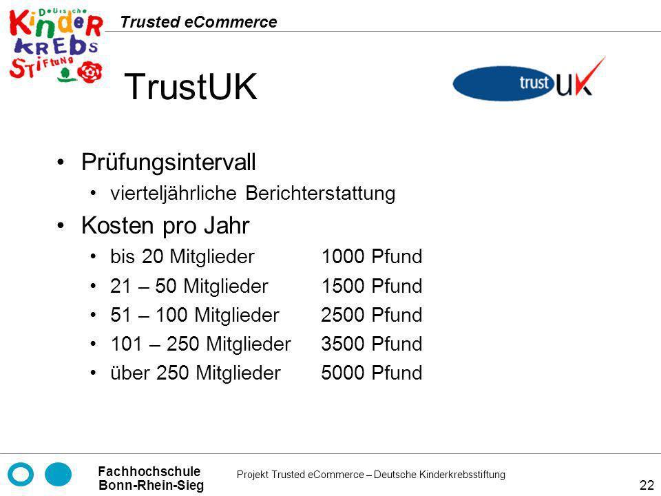 Projekt Trusted eCommerce – Deutsche Kinderkrebsstiftung Fachhochschule Bonn-Rhein-Sieg Trusted eCommerce 22 TrustUK Prüfungsintervall vierteljährlich