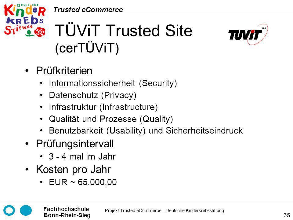 Projekt Trusted eCommerce – Deutsche Kinderkrebsstiftung Fachhochschule Bonn-Rhein-Sieg Trusted eCommerce 35 TÜViT Trusted Site (cerTÜViT) Prüfkriteri