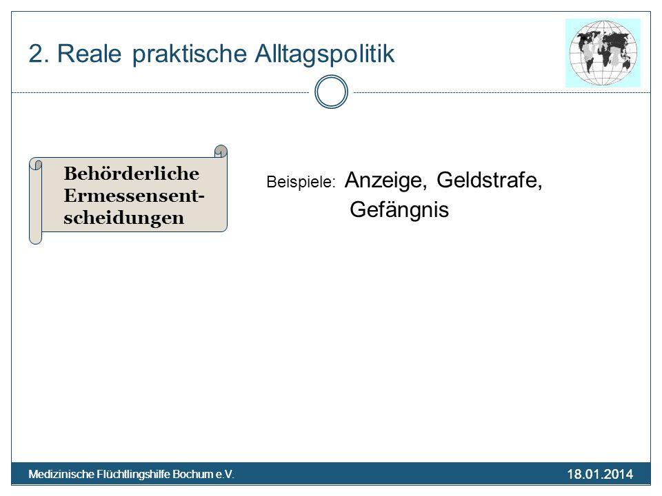 18.01.2014 Medizinische Flüchtlingshilfe Bochum e.V. 18.01.2014 Medizinische Flüchtlingshilfe Bochum e.V. 2. Reale praktische Alltagspolitik Beispiele