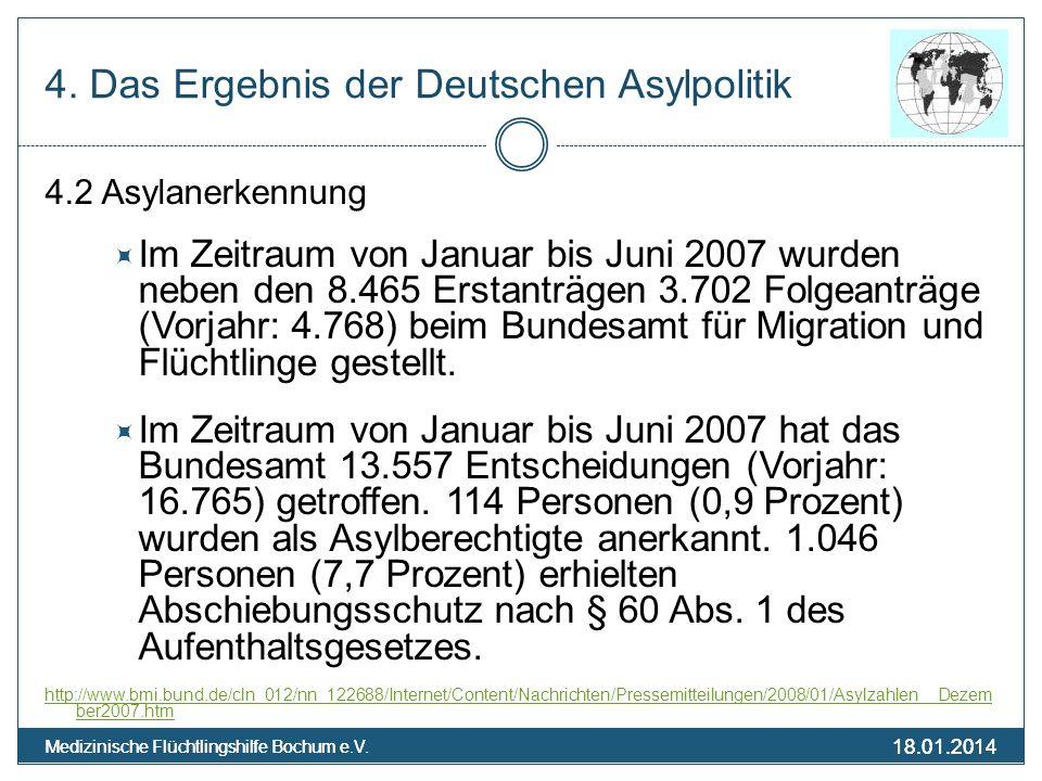 18.01.2014 Medizinische Flüchtlingshilfe Bochum e.V. 18.01.2014 Medizinische Flüchtlingshilfe Bochum e.V. 4. Das Ergebnis der Deutschen Asylpolitik 4.