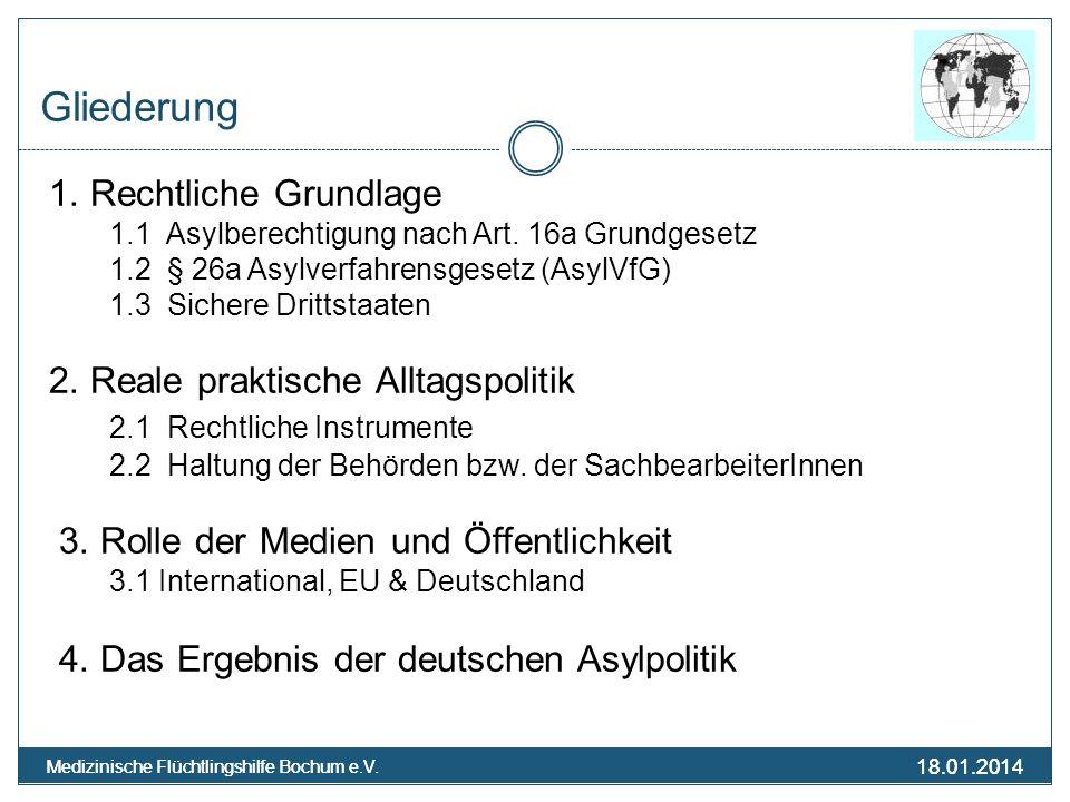 18.01.2014 Medizinische Flüchtlingshilfe Bochum e.V. 18.01.2014 Medizinische Flüchtlingshilfe Bochum e.V. Gliederung 1. Rechtliche Grundlage 1.1 Asylb