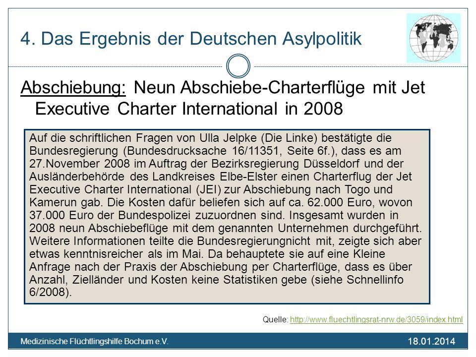 18.01.2014 Medizinische Flüchtlingshilfe Bochum e.V. 4. Das Ergebnis der Deutschen Asylpolitik Abschiebung: Neun Abschiebe-Charterflüge mit Jet Execut