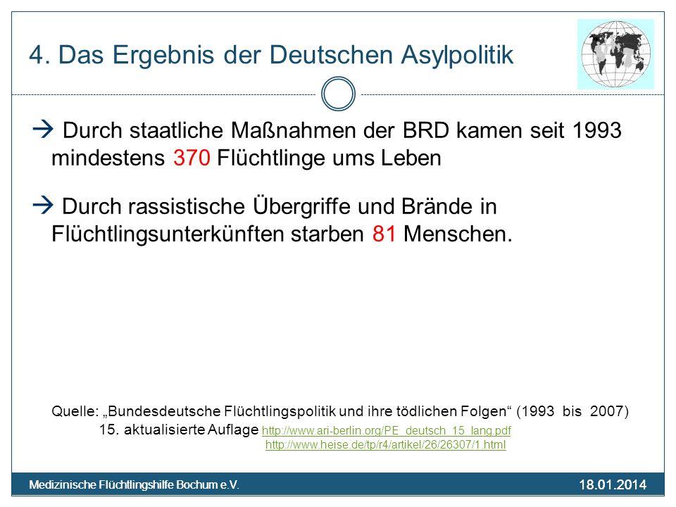 18.01.2014 Medizinische Flüchtlingshilfe Bochum e.V. 18.01.2014 Medizinische Flüchtlingshilfe Bochum e.V. 4. Das Ergebnis der Deutschen Asylpolitik Du