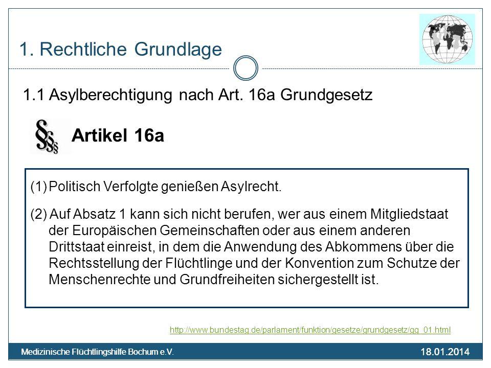 18.01.2014 Medizinische Flüchtlingshilfe Bochum e.V. 18.01.2014 Medizinische Flüchtlingshilfe Bochum e.V. 1. Rechtliche Grundlage 1.1 Asylberechtigung
