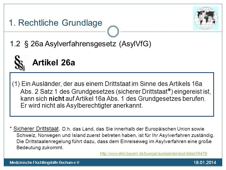 18.01.2014 Medizinische Flüchtlingshilfe Bochum e.V. 18.01.2014 Medizinische Flüchtlingshilfe Bochum e.V. 1. Rechtliche Grundlage 1.2 § 26a Asylverfah