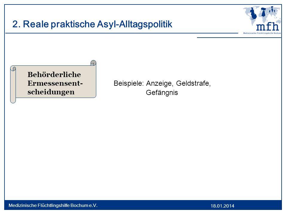18.01.2014 Medizinische Flüchtlingshilfe Bochum e.V. 2. Reale praktische Asyl-Alltagspolitik Beispiele: Anzeige, Geldstrafe, Gefängnis Behörderliche E