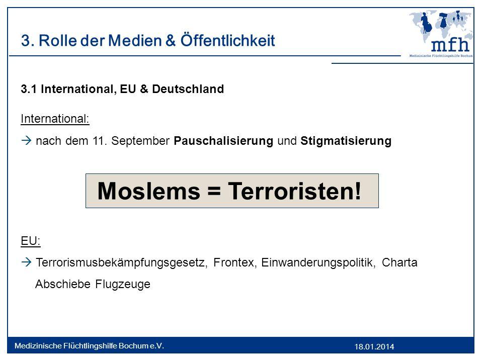 18.01.2014 Medizinische Flüchtlingshilfe Bochum e.V. 3. Rolle der Medien & Öffentlichkeit 3.1 International, EU & Deutschland International: nach dem
