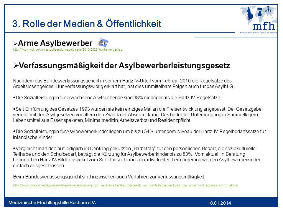 18.01.2014 Medizinische Flüchtlingshilfe Bochum e.V. 3. Rolle der Medien & Öffentlichkeit Arme Asylbewerber http://www.wdr.de/tv/westpol/sendungsbeitr