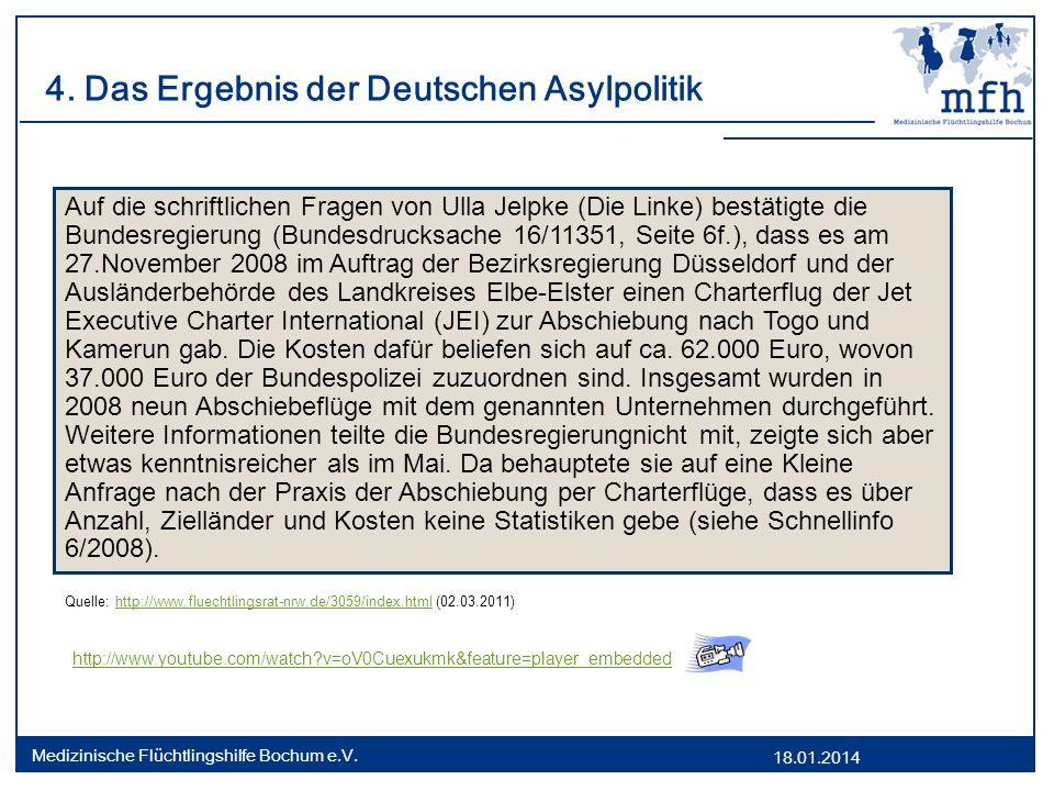 18.01.2014 Medizinische Flüchtlingshilfe Bochum e.V. 4. Das Ergebnis der Deutschen Asylpolitik Quelle: http://www.fluechtlingsrat-nrw.de/3059/index.ht
