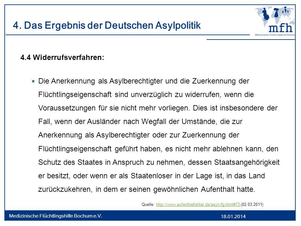 18.01.2014 Medizinische Flüchtlingshilfe Bochum e.V. 4. Das Ergebnis der Deutschen Asylpolitik 4.4 Widerrufsverfahren: Die Anerkennung als Asylberecht